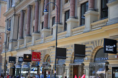 Sikt av den Graben shoppinggatan i centrum av Wien Royaltyfria Foton