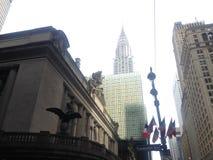 Sikt av den Grand Central terminalen, Chrysler byggnad och det Grand Hyatt hotellet i New York Arkivbild
