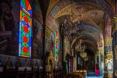 Sikt av den grekiska ortodoxa kyrkan för St Dionysios Royaltyfri Fotografi