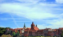 Sikt av den Grudziadz staden, Polen Arkivfoto