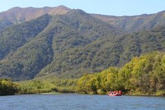 Sikt av den härliga bergfloden med turister på den orange flotten på vatten royaltyfri fotografi