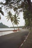 Sikt av den härliga roterande vägen nära havet och berget, abstrakt tappning filtrerad bild Arkivfoton