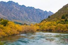 Sikt av den härliga sjön för höstsidor och det Remarkables berget, Queenstown, Nya Zeeland royaltyfri fotografi