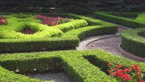 Sikt av den härliga trädgårds- på engelska stildetaljen arkivfilmer