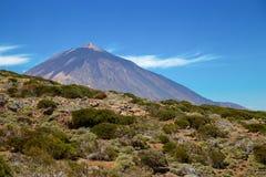 Sikt av den härliga vulkan Teide i sommar arkivbilder