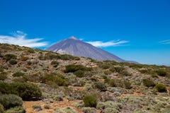 Sikt av den härliga vulkan Teide i sommar royaltyfri foto