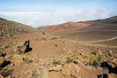 Sikt av den Haleakala krater arkivbild