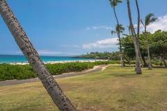 Sikt av den Hapuna stranden i den stora ön, Hawaii Royaltyfri Bild