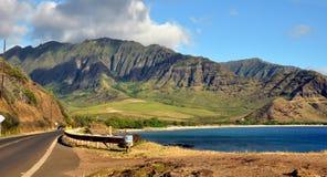 Sikt av den hawaianska kustlinjen Arkivfoton