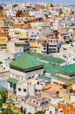 Sikt av den heliga staden av Moulay Idris från över, Marocko royaltyfri fotografi