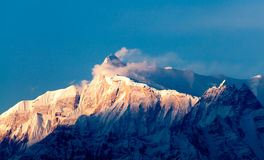 Sikt av den himalayan maximala Machhapuchharen, Pokhara, Nepal Arkivbilder