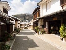 Sikt av den historiska Uchiko staden i den Ehime prefekturen, Japan Royaltyfri Bild