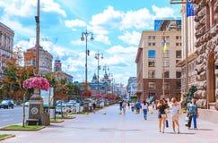 Sikt av den huvudsakliga gatan Khreshchatyk i Kiev huvudstad av Ukraina arkivbild
