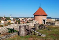 Sikt av den Istvan Dobo bastionen i den Eger slotten Royaltyfria Bilder