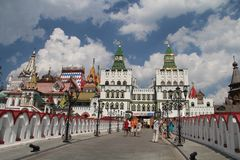 Sikt av den Izmailovo Kreml i Moskva, Ryssland arkivfoto