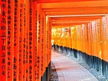 Sikt av den japanska toriibanan i Kyoto, Japan Royaltyfria Bilder