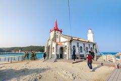 Sikt av den Jukseong katolska kyrkan, den dröm- uppsättningen, Gijang-vapen, Busan, Korea Arkivfoto