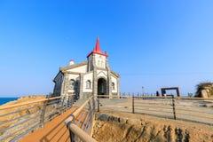 Sikt av den Jukseong katolska kyrkan, den dröm- uppsättningen, Gijang-vapen, Busan, Korea Arkivfoton