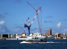 Sikt av den Kaohsiung hamnen med stora kranar Royaltyfria Bilder