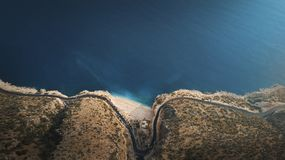 Sikt av den Kaputas stranden från ovannämnt som tas med surret Kalkan Turkiet arkivbild