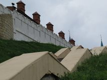 Sikt av den Kazan Kreml Kazan, Ryssland arkivbilder