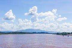 Sikt av den Khong floden Chiang san, Chiang Rai, Thailand Arkivfoto