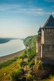 Sikt av den Khotyn fästningen Arkivfoto