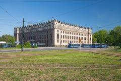 Sikt av den kommunistiska arkitekturen av Nowaen Huta Royaltyfri Foto