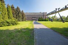 Sikt av den kommunistiska arkitekturen av Nowaen Huta Royaltyfria Bilder