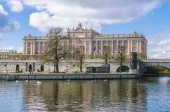 Sikt av den kungliga Stockholm slotten Fotografering för Bildbyråer