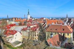 Sikt av den lägre staden av Tallinn den gamla staden, Estland Royaltyfri Fotografi