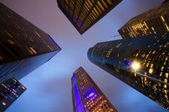Sikt av den låga vinkeln för skyskrapor i Houston Royaltyfri Fotografi