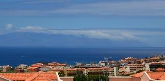 Sikt av den LaGomera ön, Tenerife, kanariefågelöar Arkivfoto