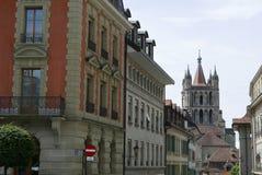 Sikt av den Lausanne domkyrkan royaltyfri fotografi