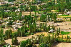 Sikt av den Leh Ladakh staden Arkivfoto