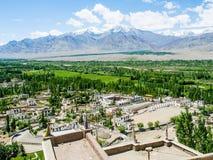 Sikt av den Leh staden med det korkade berget för snö på bakgrund, Ladakh Royaltyfria Foton