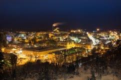 Sikt av den lilla svenska staden Arkivfoto