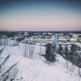 Sikt av den lilla svenska staden Royaltyfri Foto