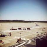 Sikt av den Malpensa flygplatsen arkivbilder