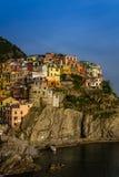 Sikt av den Manarola byn, Cinque Terre, Italien Fotografering för Bildbyråer
