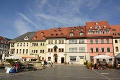Sikt av den Markt fyrkanten i Weimar Arkivbilder