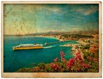 Sikt av den medelhavs- semesterorten, Nice, Frankrike Arkivfoto