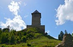 Sikt av den medeltida fästningen Arkivfoton