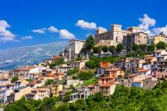 Sikt av den medeltida staden Celano, landskap av L& x27; Aquila Abruzzo, Ita Fotografering för Bildbyråer