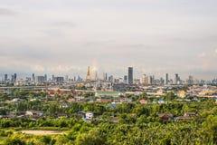 Sikt av den moderna gränsmärket för bhumibolbro av bangkok Thailand Royaltyfri Fotografi