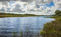 Sikt av den near monteringen Errigal, Co Donegal för flod royaltyfri foto
