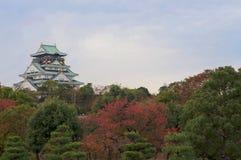 Sikt av den Osaka slotten arkivbild