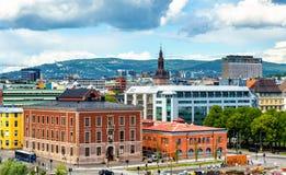 Sikt av den Oslo stadsmitten arkivbild