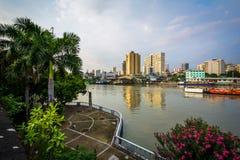 Sikt av den Pasig floden på fortSantiago, in som är intramuros, Manila, Arkivbilder