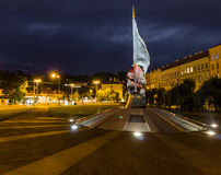 Sikt av den Prague staden i natten, Tjeckien Royaltyfria Bilder